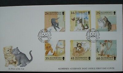 """Alderney, Guernsey. First Day Cover """"In Praise Of The Cat"""" Issued 19 July 1996."""