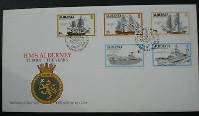 """Alderney, Guernsey. First Day Cover. """"HMS Alderney Through The Years"""" 3 May 1990"""