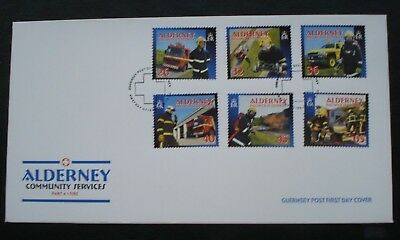"""Alderney, Guernsey. First Day Cover. """"Community Services"""" Part 4 Fire."""