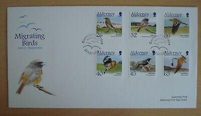 """Alderney, Guernsey. First Day Cover, """"Migrating Birds"""" Part 3 Passerines."""