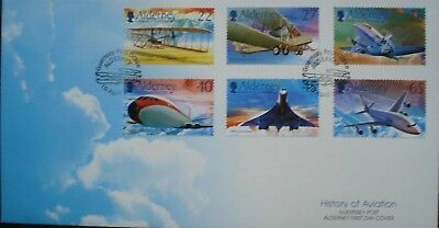 """Alderney, Guernsey. First Day Cover """"History Of Aviation"""" Issued 10th April 2003"""