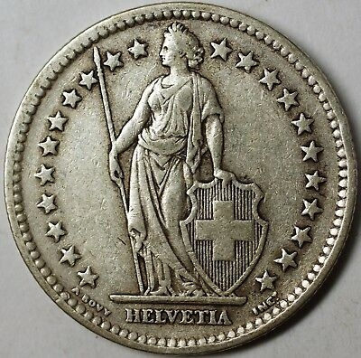 1945 B Switzerland 2 Francs Average Circulated Helvetia Silver Coin