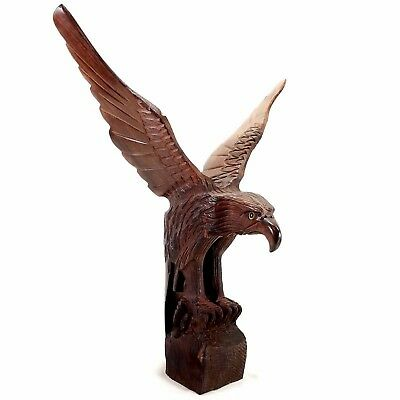 "Hand Carved Wooden Eagle Perched with Spread Wings 13"" Tall with 12"" Wingspan"