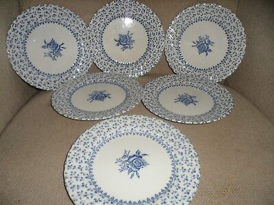 "Johnson Brothers "" Rose Bouquet "" Blue ""  Six 17Cm Side Plates """