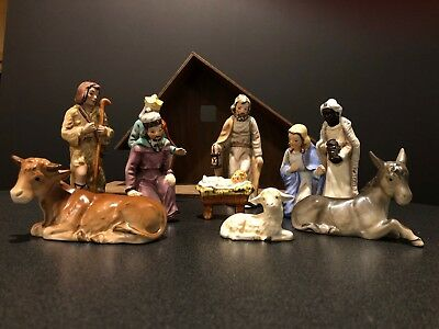 1958 Vintage Nativity Set GOEBEL W GERMANY with 10 Figurines~Pieces & Stable