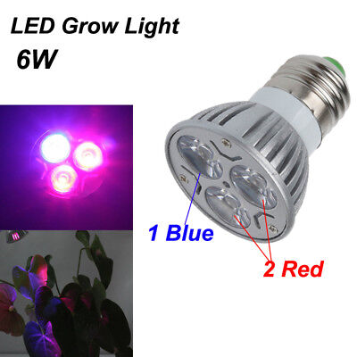 6W E27 Led Grow Light Bubs Lamp Indoor For Hydroponics Plant Seed Flower Garden
