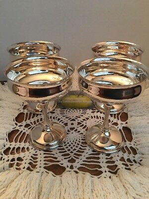 Four Silver Plated Kirk Champagne Goblets