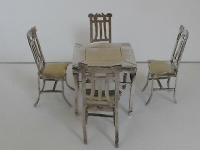 Antique Silver Plate Miniature Dollhouse Furniture 4 Chairs and a Table