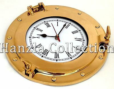 Porthole Wall Clock Industrial Vintage Nautical Polished Brass Home Decor Clock