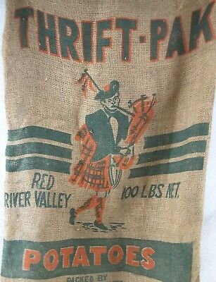 Vintage Burlap Potatoe Sack THRIFT-PAK Scottish Bag pipe Player Red River Valley