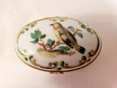 Dubarry Limoges France Oval Bird Trinket Box - Fini Main