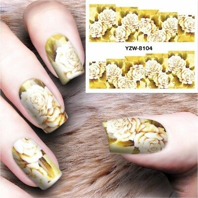Nail Art Decals Water Transfers Stickers Yellow Rose Flower Gel Polish