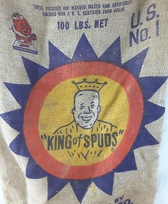 "Vintage Burlap Potatoe Sack ""KING OF SPUDS"" East Grand Forks MN potatoes  Bag"