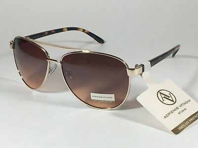 3a0e744368 Adrienne Vittadini Women s Aviator Sunglasses Gold Tortoise Brown Gradient  Lens