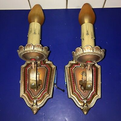 Pair of antique Spanish revival sconces with original polychrome patina 46E