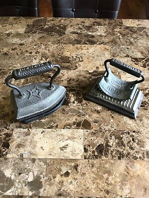 2 Vintage/Antique Irons 1 Cast Iron #7 and 1 Fluter Iron