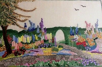 Stunning Vintage Hand Embroidered Picture Panel - Beautiful Cottage Garden