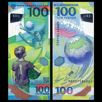 Russia 2018 Football FIFA World Cup 100 rubles POLYMER note - UNC uncirculated