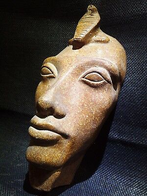 EGYPTIAN ARTIFACT ANTIQUITIES Atum Sun God Granite Face Portrait 1570–1070 BC