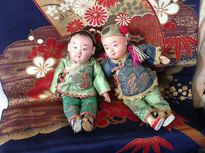 2 ANTIQUE DOLLS*RAISED GOLD DESIGN on GIRLS HEAD*GOLD COUCHING*EMBROIDERY*CHINA