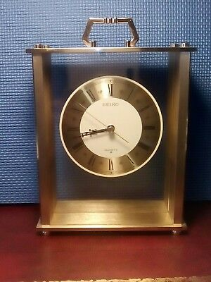 Large Seiko Brass Battery Carriage Clock . Working.