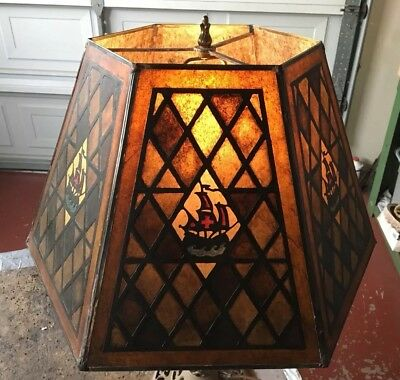 Large Hexagonal Tudor Revival hand painted Antique style Mica Table Lampshade