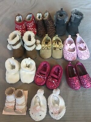 Lot Of 11 Pairs Of Shoes/boot/slipper/fancy Socks For Baby Girl Sizes 3-12 Month