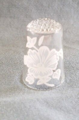 Glass Thimble w/ Hand Painted  White Flowers