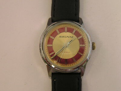 Vintage Signal Watch Fancy Red Gold Two Tone Dial 1960's