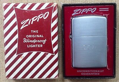 Vintage Zippo Lighter In Candy Stripe Box Brushed Stainless Steel USA Made