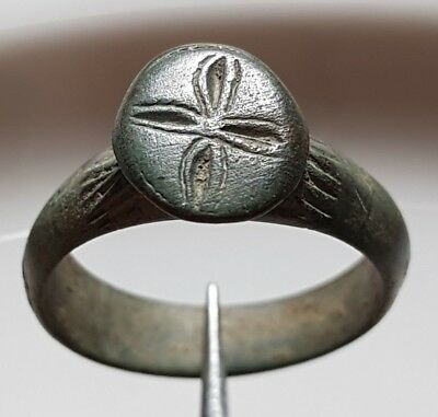 ** Cross ** Crusader Ring Bronze Byzantine Ring ** Rare !!!