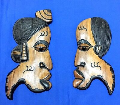 Pair Of African Tribal Hand Carved Wood Mask Room Decor Art Ethnic Wall Hanging