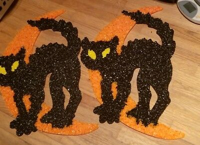 2 cat on the moon. 12x18 Halloween decoration. Melted Plastic Popcorn