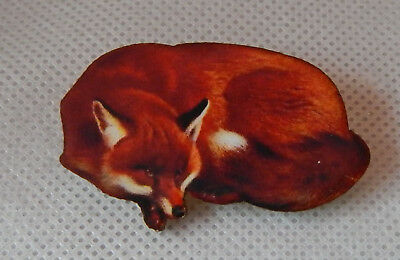 Pin Fox Brooch Red Accessories Handmade NEW Wood Lapel Fashion Women Animal