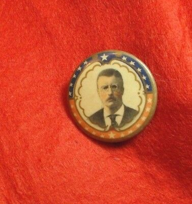 antique celluloid Teddy Roosevelt (1901-1909) pinback button - F. F. Pulver Co.