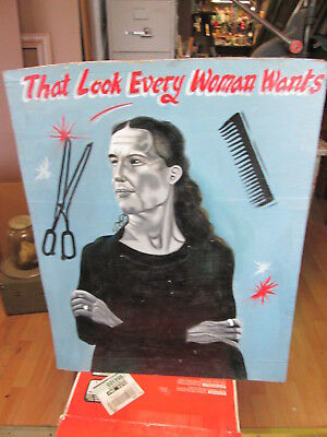 """Hand Painted African Barber Shop Sign from Ghana, """"That Look Every Woman Wants"""""""