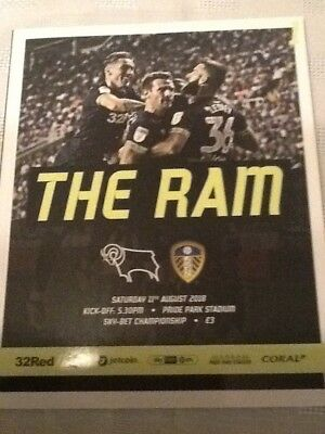 DERBY COUNTY  v  LEEDS UNITED  2018/19  AUG 11 Includes Free Teamsheet.