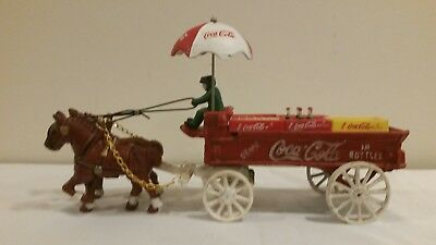 Coca Cola Cast Iron Horse Drawn Coke Delivery Wagon With Driver And Bottle Cases