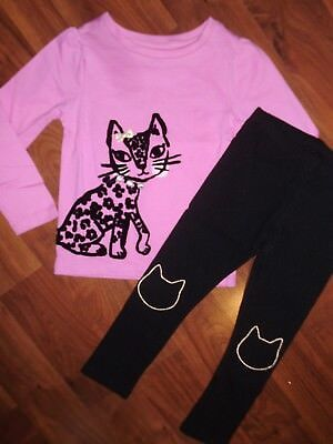 6 9 12 M 3 T Gymboree Pink Kitty Cat Black Leggings Outfit Baby New Girl NWT