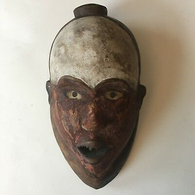 Tribal used African Bakongo Superb face Mask - Congo. 1960s Early Pipe