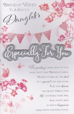 Large Daughter Birthday Card 8 Page Colour Insert Verse Greeting