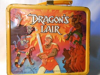 dragons lair 1983 metal lunch box with thermos