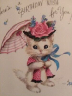 Vintage Happy Birthday Card Kitty Cat with Parasol M. Cooper Rust Craft