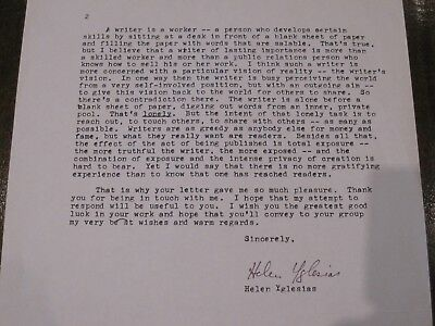 Signed letter from Helen Bassine Yglesias (1915-2008), an American Novelist