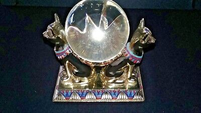 RARE LIMITED EDITION Franklin Mint The Crystal Ball Of Bast, Gold Egyptian  Cats