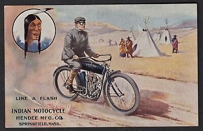 "Vintage Original ""indian Motocycle"" Illustrated Postcard. Hendee Mfg Co., Mass"