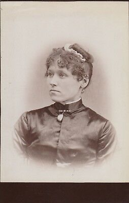 Cabinet Card Lady Id  Satin Dress Broach,cameo,hair Comb Beads,curly Bangs,bun