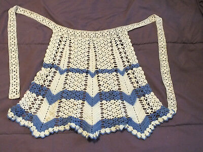 Vintage Doilie Style Apron Blue And White