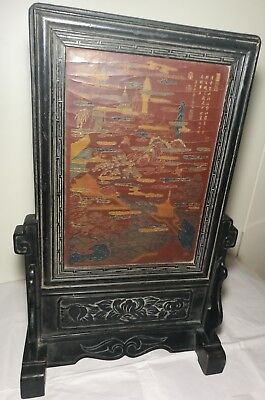 Antique Chinese lacquered table screen/decorated landscape+fishes C19th H59cm