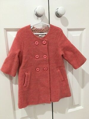 purebaby, gorgeous baby girl wool coat,body lining cotton, sleeves polyester